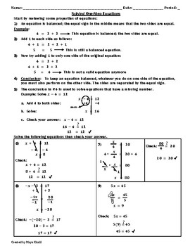 How to Solve One-Step Equations Handout