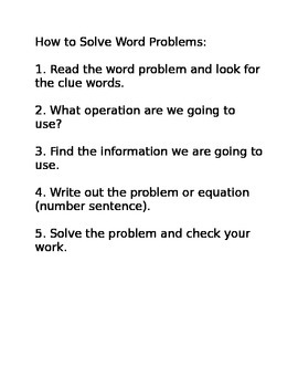 How to Solve Word Problems Resource Sheet for Students