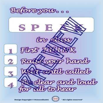 How to Speak  - Classroom Procedures - Poster