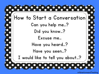 How to Start a Conversation Poster FREEBIE