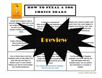 How to Steal a Dog Choice Board Novel Study Menu Book Project Tic Tac Toe