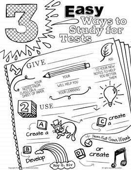 How to Study for a Test - Doodle Notes - Study Skills Sketchnotes