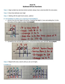How to Subtract Whole Numbers
