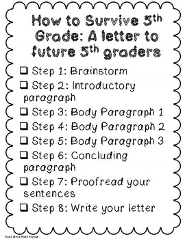 How to Survive 5th Grade: Step-by-Step End of Year Writing to Future Students