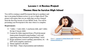 MOAC Powerpoint 2013 Lessons 1-4 Review Project - How to Survive High School