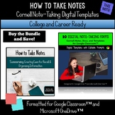 How to Take Notes, Cornell Notes Forms, Digital Note-Taking Templates Bundle