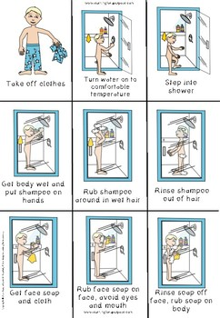 how to take a shower visual sequencing cards by learning for a purpose. Black Bedroom Furniture Sets. Home Design Ideas