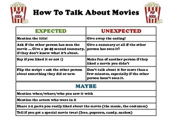 How to Talk About Movies (Social Scripts +Lesson)