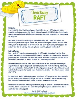 How to Teach RAFT Writing As Professional Development and/or To Students
