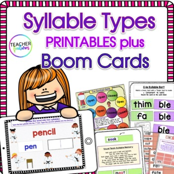 Syllable Types Boom Cards Digital Bundle