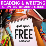 Reading and Writing Activities FREE