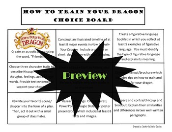 How to Train Your Dragon Choice Board Novel Study Activities Menu Book Project