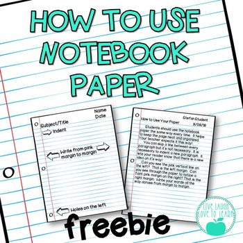 How to Use Notebook Paper FREEBIE