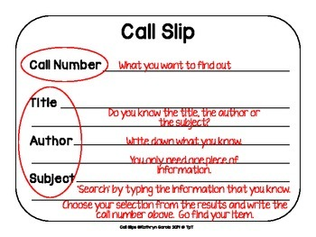 Library Skills: How to Use a Call Slip in the School Media Center:  FREE