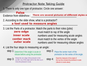 How to Use a Protractor Power Point, Note Taking Guide, and Video Project