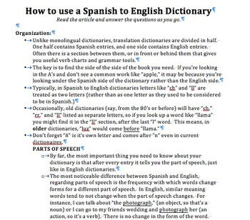 How to Use a Spanish to English Dictionary