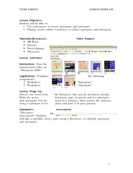 How to Use a Theasurus Video Tutorial and Worksheets