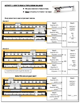 Triple Beam Balance Worksheet Teaching Resources | Teachers Pay Teachers