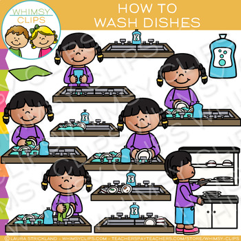 How to Wash Dishes Clip Art
