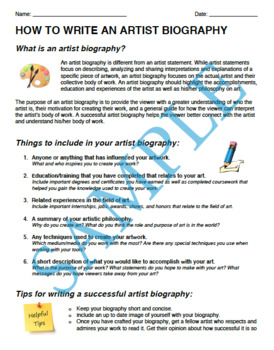How to Write An Artist Biography