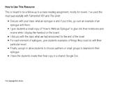 How to Write An Epilogue- Graphic Organizer & Info Sheet