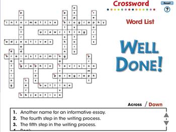 How to Write An Essay: Crossword - NOTEBOOK Gr. 5-8