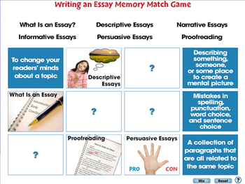 How to Write An Essay: Memory Match Game - MAC Gr. 5-8