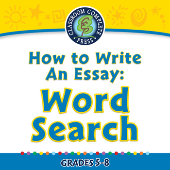 How to Write An Essay: Word Search - NOTEBOOK Gr. 5-8