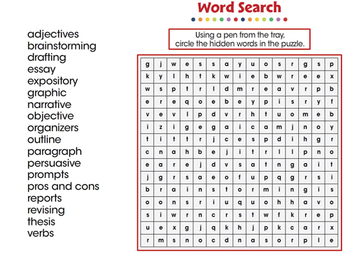How to Write An Essay: Word Search - PC Gr. 5-8