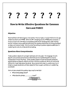 How to Write Effective Questions for Common Core and PARCC