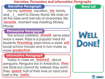 How to Write Narrative, Persuasive and Informative Paragraphs NOTEBOOK