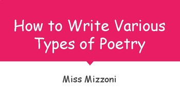 How to Write Various Types of Poetry