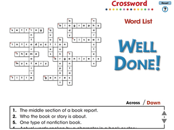How to Write a Book Report: Crossword - PC Gr. 5-8