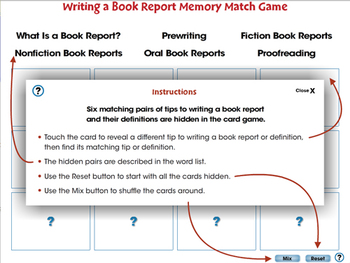 How to Write a Book Report: Memory Match Game - MAC Gr. 5-8