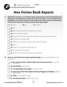How to Write a Book Report: Non Fiction Book Reports