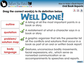 How to Write a Book Report: Oral Book Reports - NOTEBOOK Gr. 5-8