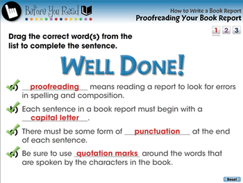 How to Write a Book Report: Proofreading Your Book Report - NOTEBOOK Gr. 5-8