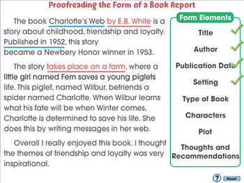 How to Write a Book Report: Proofreading the Form of a Book Report - MAC Gr. 5-8