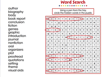 How to Write a Book Report: Word Search - NOTEBOOK Gr. 5-8