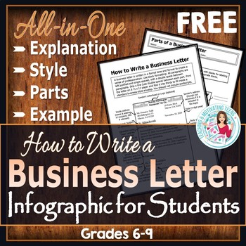 How to Write a Business Letter Infographic for Students - Freebie for Teachers