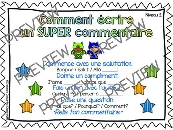 How to Write a Comment On a Blog - FRENCH and ENGLISH Poster