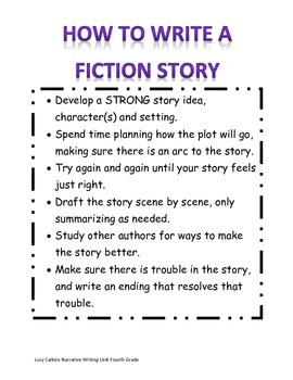 How to Write a Fiction Story Achor Chart