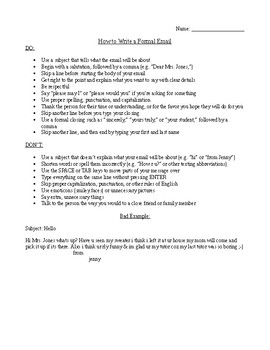 How to Write a Formal Email (Instructions for Students)