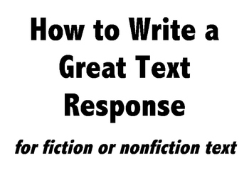 How to Write a Great Text Response Printable