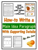 How-to Write a Main Idea Paragraph with Supporting Details