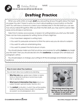 How to Write a Paragraph: Drafting Practice Gr. 5-8