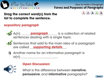 How to Write a Paragraph: Forms and Purposes of Paragraphs - PC Gr. 5-8