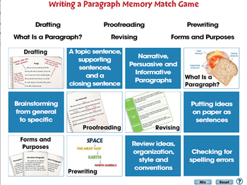 How to Write a Paragraph: Memory Match Game - NOTEBOOK Gr. 5-8