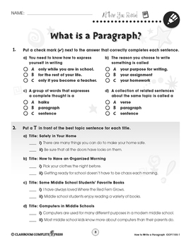 How to Write a Paragraph: What Is a Paragraph? Gr. 5-8