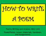 How to Write a Poem: A Poetry Writing and Analysis Mini-Unit